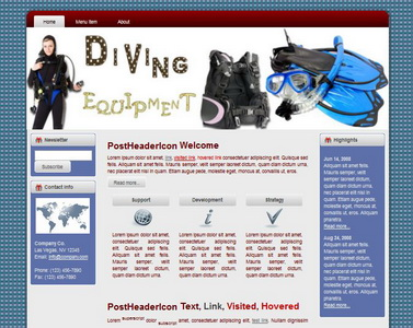 Diving Equipment HTML WP Blogger Theme #130504