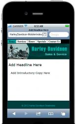 Harley Davidson Mobile Site Template