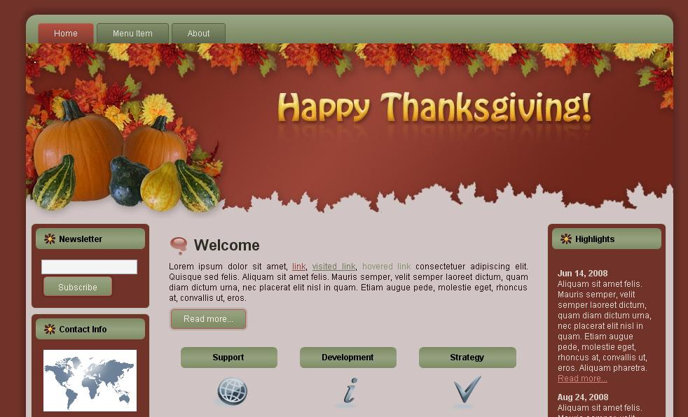 Thanksgiving Fall WordPress HTML Templates Pack