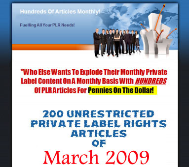 200 Unrestricted PLR Articles - March 2009
