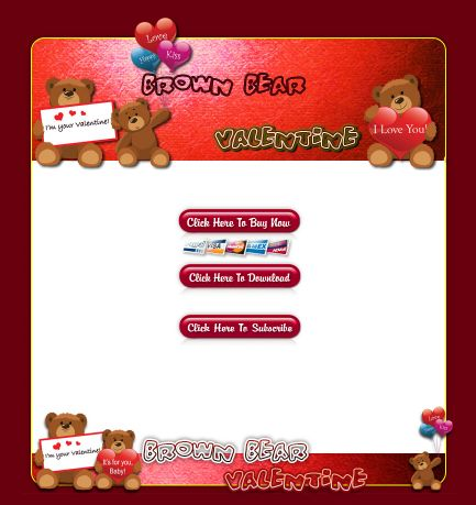 Brown Bear Valentine HTML Template