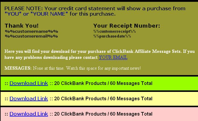 Clickbank Messages