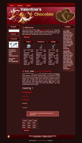 Valentine Chocolate HTML WP Blogger Templates