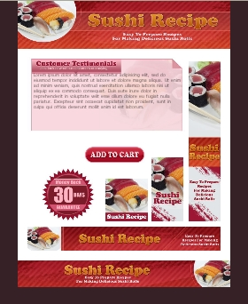 WP & HTML Template Sushi Recipe